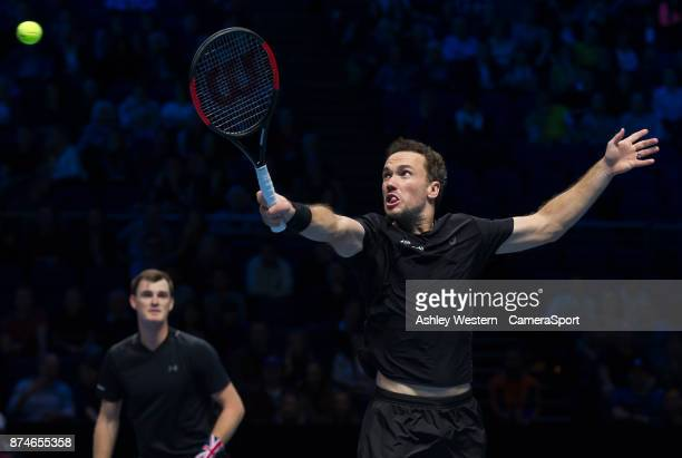 Bruno Soares of Brazil with partner Jamie Murray of Great Britain in action during their victory over Ivan Dodig of Brazil and Marcel Granollers of...