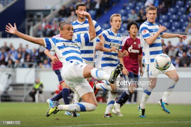 Bruno Soares of Duisburg scores during the Loveparade charity match between MSV Duisburg and FC Schalke 04 at the SchauinslandReisen Arena on July 26...