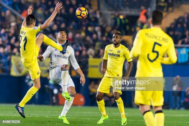 Bruno Soriano Llido of Villarreal CF competes for the ball with Carlos Henrique Casemiro of Real Madrid during their La Liga match between Villarreal...