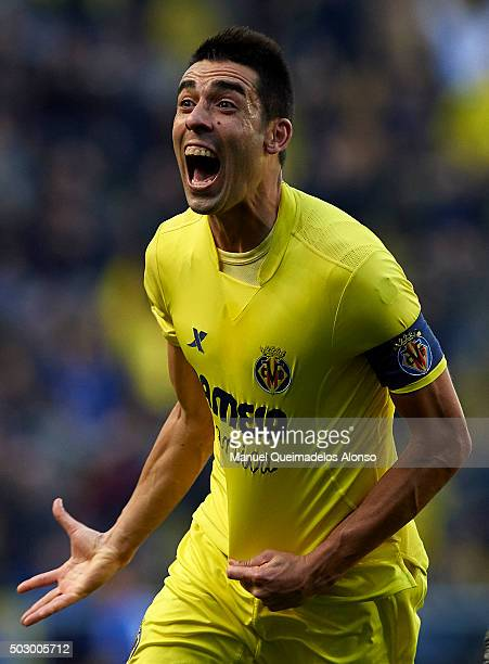 Bruno Soriano of Villarreal celebrates scoring his team's first goal during the La Liga match between Villarreal CF and Valencia CF at El Madrigal on...