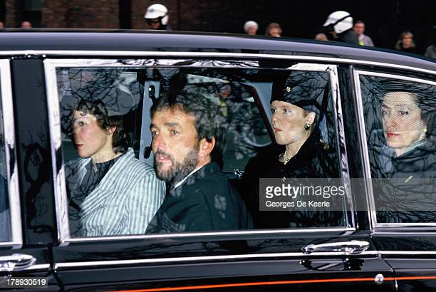 Bruno Sprecher the Klosters ski guide and Sarah Ferguson arrive by car to the Ceremonial Funeral Major Hugh Lindsay on March 17 1988 in London...