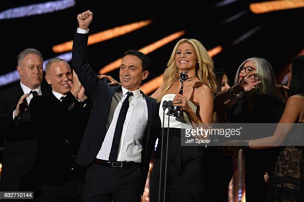 Bruno Tonioli and Tess Daly accept the Best Talent Show award for Strictly Come Dancing during the National Television Awards at The O2 Arena on...