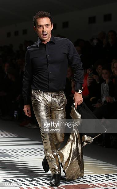 Bruno Tonioli walks the runway at the Fashion For Relief charity fashion show to kick off London Fashion Week Fall/Winter 2015/16 at Somerset House...