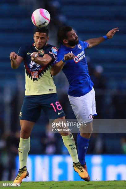 Bruno Valdez of America goes for a header with Martin Cauteruccio of Cruz Azul during the 13th round match between Cruz Azul and America as part of...
