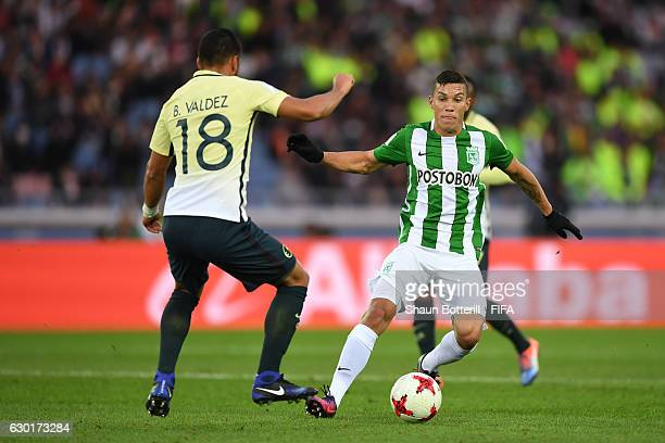 Bruno Valdez of Club America closes down Mateus Uribe Villa of Atletico Nacional during the FIFA Club World Cup 3rd Place match between Club America...