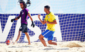 Bruno Xavier of Brazil celebrates a goal during the FIFA Beach Soccer World Cup Portugal 2015 Group C match beween Iran and Brazil at Espinho Stadium...