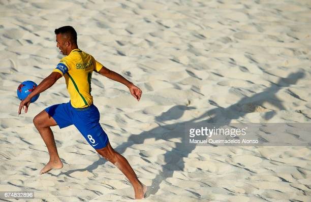 Bruno Xavier of Brazil in action during the FIFA Beach Soccer World Cup Bahamas 2017 group D match between Brazil and Tahiti at Bahamas Beach Stadium...
