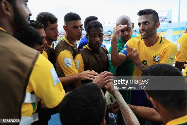 Bruno Xavier of Brazil talks to histeam during a period of play during the FIFA Beach Soccer World Cup Bahamas 2017 quarter final match between...