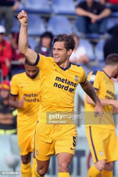Bruno Zuccolini of Verona celebrates his goal 01 during the Serie A match between Cagliari Calcio and Hellas Verona FC at Stadio Sant'Elia on...