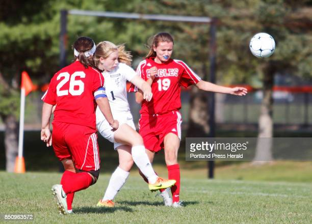 Brunswick Lea Scrapchansky breaks through Mt Ararat Katelyn Hutchins and Jessica Cloutier on her way to scoring a goal early in the first half at...