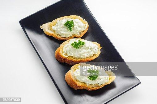 Bruschetta - an Italian appetizer dish : Stock Photo