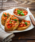 Toast topped with tomato salsa
