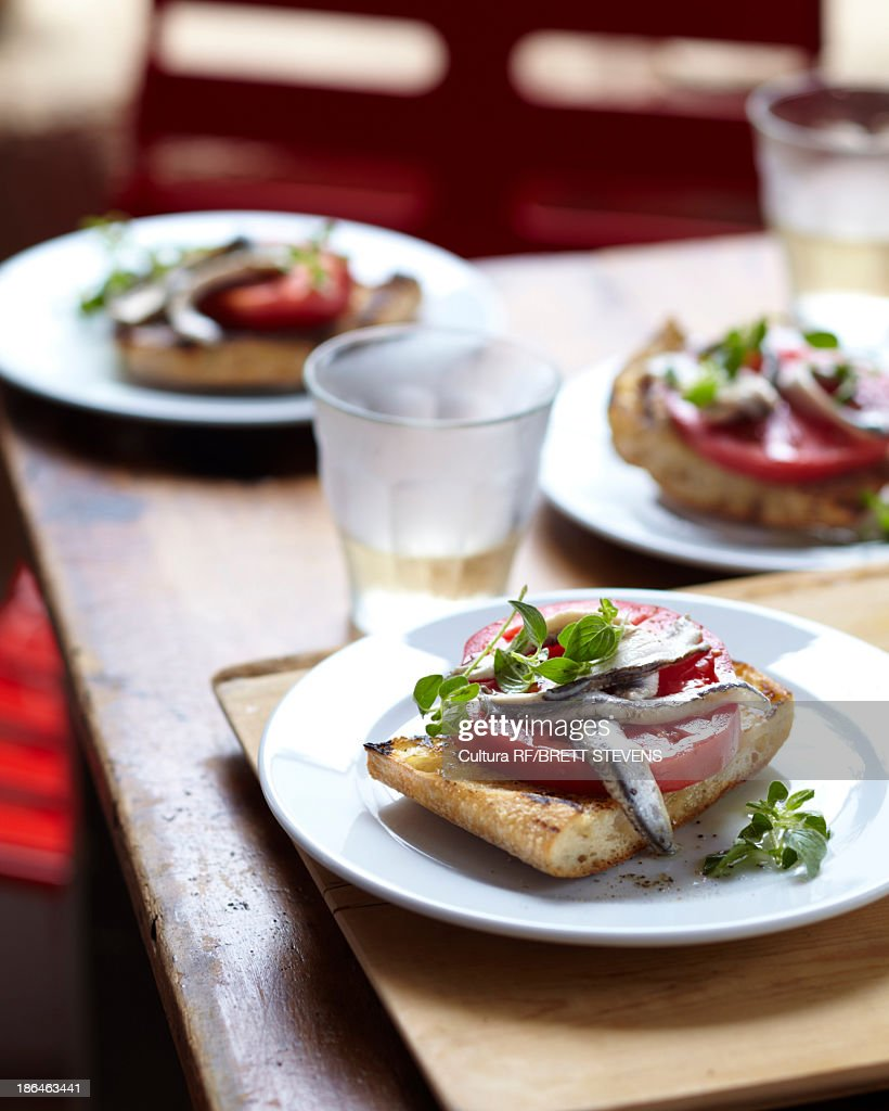 Bruschetta with anchovy and tomato