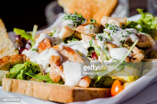 Bruschetta with mozzarella cheese : Stock Photo