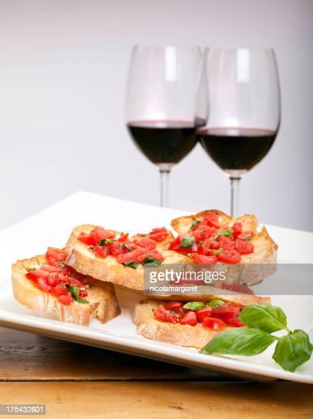 Bruschetta mit Rotwein