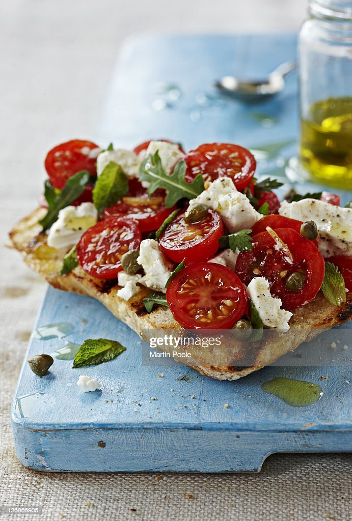 bruschetta with tomatoes and feta : Stock Photo