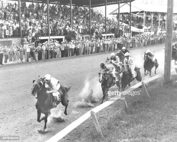 Brush Colo opens 1958 season Jane's Orphan owned by Arthur Everhart with W Drennen aboard winner of the second race and the second half of the Daily...