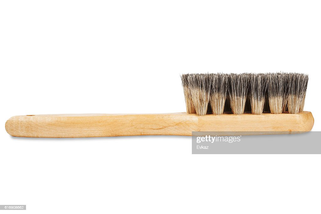 brush for cleaning shoes with bristles on isolated white background : Stock Photo