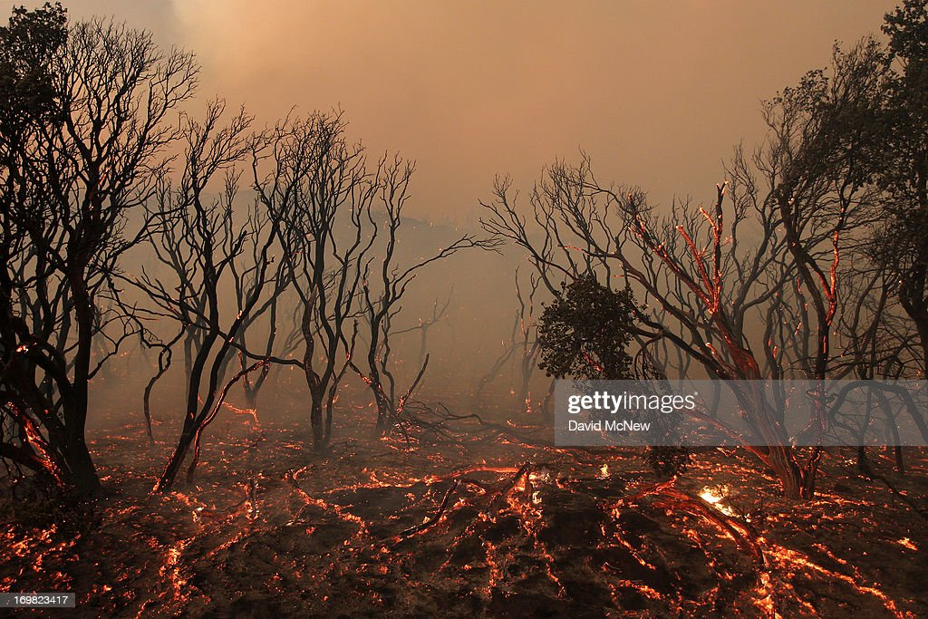 Brush glows immediately after the main fire front sweeps over in a fast run toward Lake Hughes on June 1 2013 south of Lake Hughes California The...