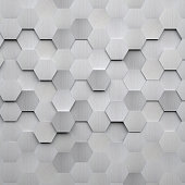 Brushed metal hexagons as a background