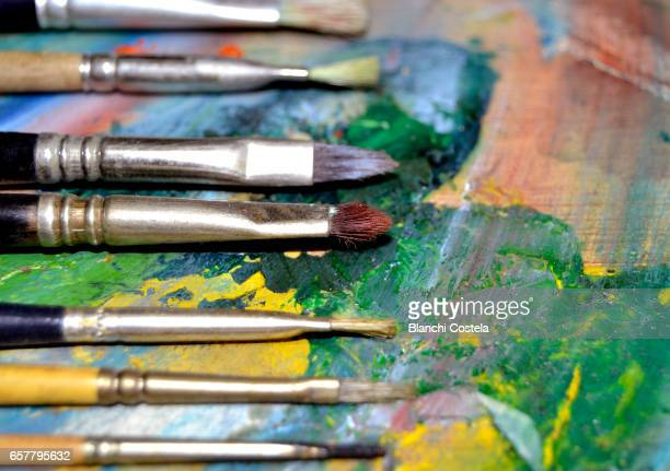 Brushes on painter's palette