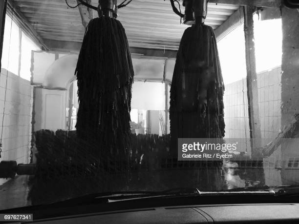 Brushes Seen Through Windshield During Car Wash