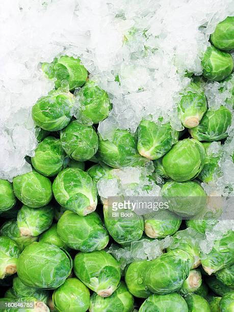 Brussel sprouts on ice at a market