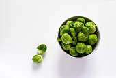 Brussel sprouts on white background from above