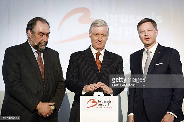 Brussels Airport chairman Marc Descheemaecker King Philippe of Belgium and Brussels Airport CEO Arnaud Feist attend the opening of the 'Connector'...