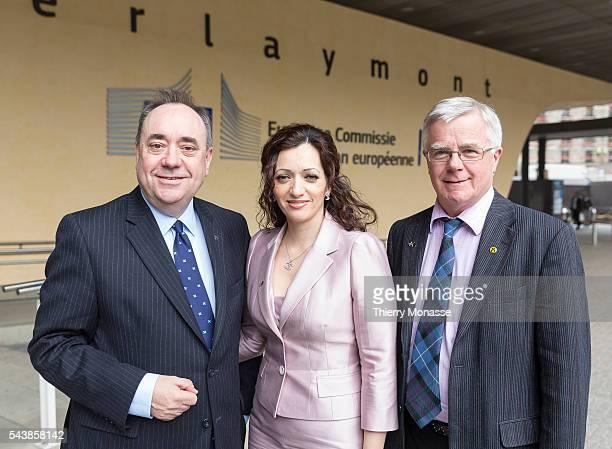 Brussels Belgium April 28 2014 First Minister of Scotland Alexander Elliot Anderson Salmond MEP candidate Tasmina AhmedSheikh and Scottish National...