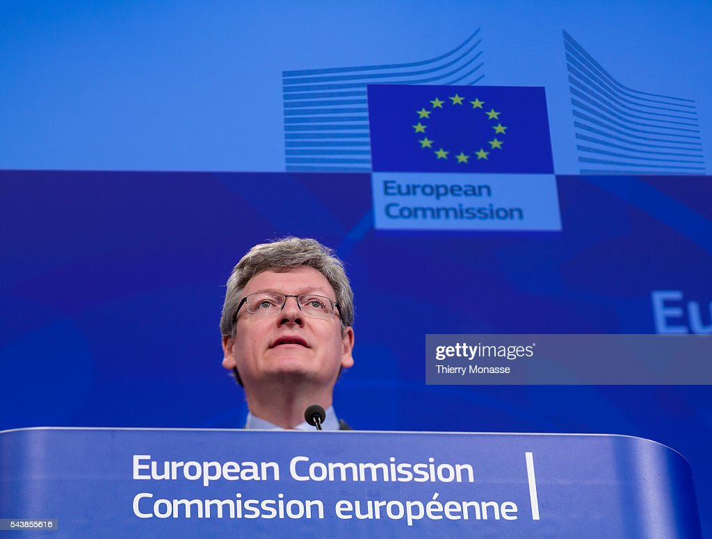 Brussels Belgium April 9 2014 EU Employment Social Affairs and Inclusion Commissioner Laszlo ANDOR is talking to media about an EU Platform on...