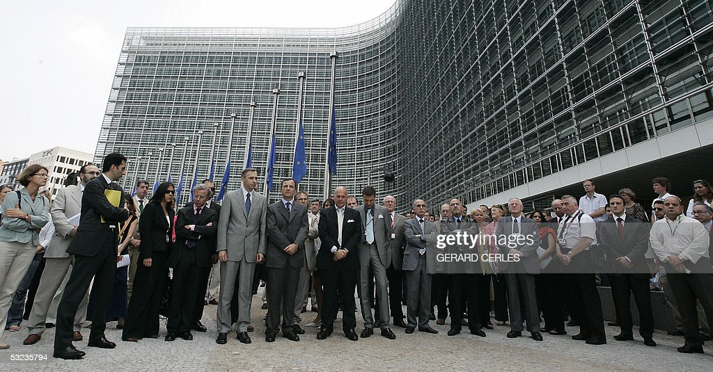 EU Commissioner for Justice Franco Frattini EU Commissionier for Education Slovakian Jan Figel and EU staff members observe two minutes of silence 14...