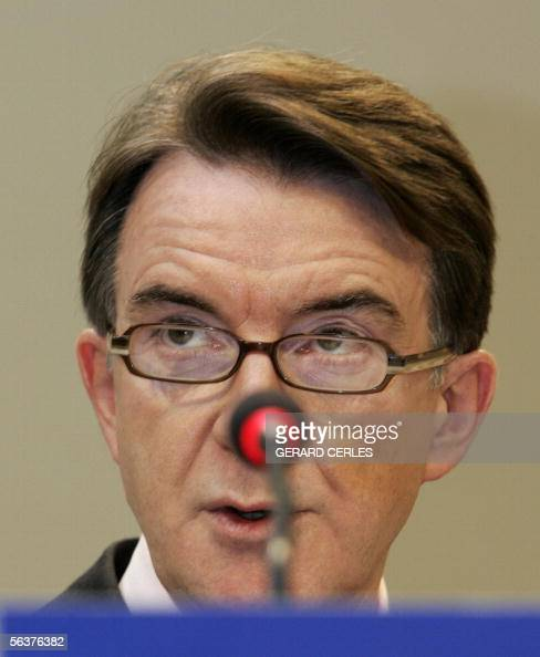 EU Commissioner for Trade Peter Mandelson speaks 08 december 2005 during a press point in the EU Headquarters in Brussels Mandelson reiterated that...