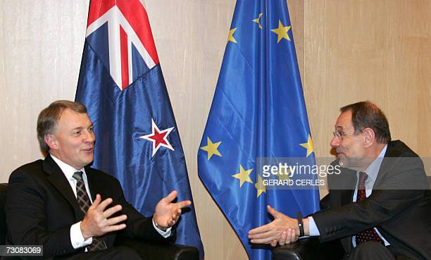 EU Foreign Policy Chief spanish Javier Solana talks with New Zealand's Trade and Foreign Affairs minister Phil Goff New Zealander Minister prior to...