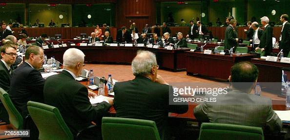 European Union ministers take place for an ECOFIN meeting 28 November 2006 at the EU Headquarters in Brussels EU finance ministers meet Tuesday for...