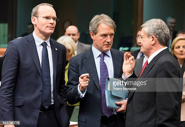 Brussels Belgium February 13 2013 Irish Minister for Agriculture Food the Marine President of the Council Simon COVENEY is talking with the British...