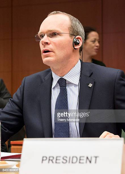 Brussels Belgium February 13 2013 Irish Minister for Agriculture Food the Marine President of the Council Simon COVENEY calls his colleague to start...