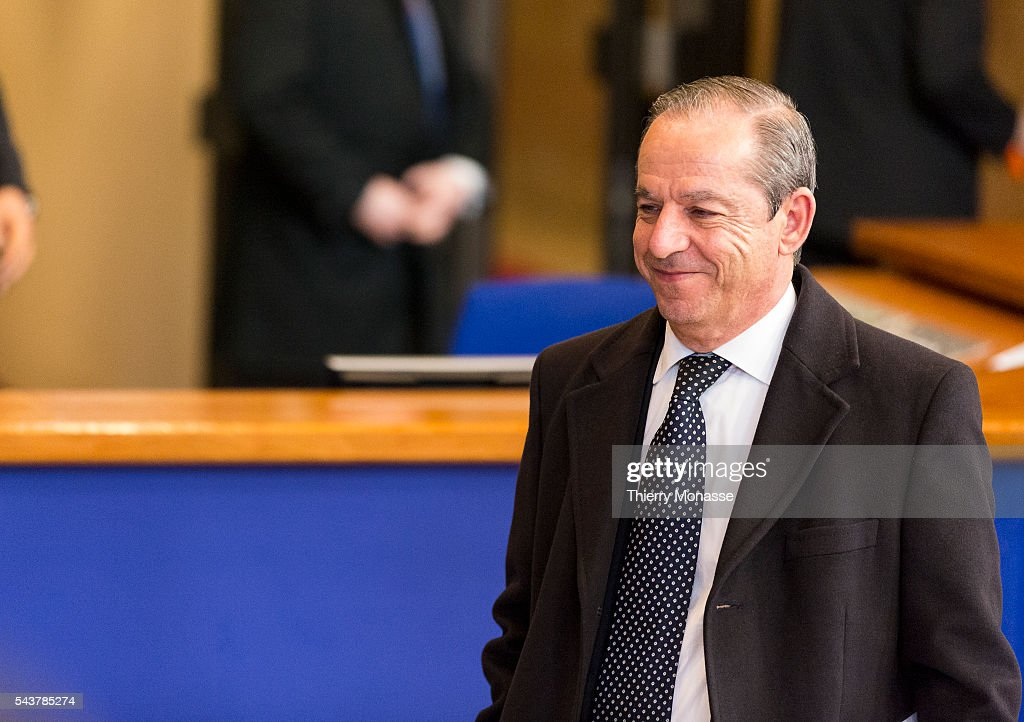 Brussels Belgium February 8 2013 Maltese Prime Minister Lawrence GONZI is living th EU Council building after a night of negotiation with EU leader...