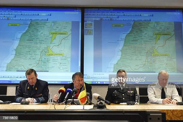 General Auguste Van Daelen Belgian Defence Minister Andre Flahaux Lieutenant General Oger Pochet and Lieutenant General Frederic Van Dingenen give a...
