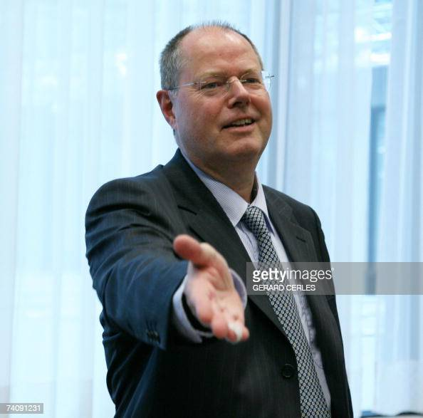 German Finance Minister Peer Steinbrueck gestures prior to the EUROGROUP meeting at the EU Headquarters in Brussels 07 May 2007 AFP PHOT/GERARD CERLES