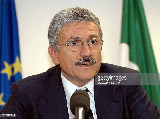 Italian Minister for Foreign Affairs Massimo D'Alema talks during a press conference held at the end of the Extraordinary General first and External...