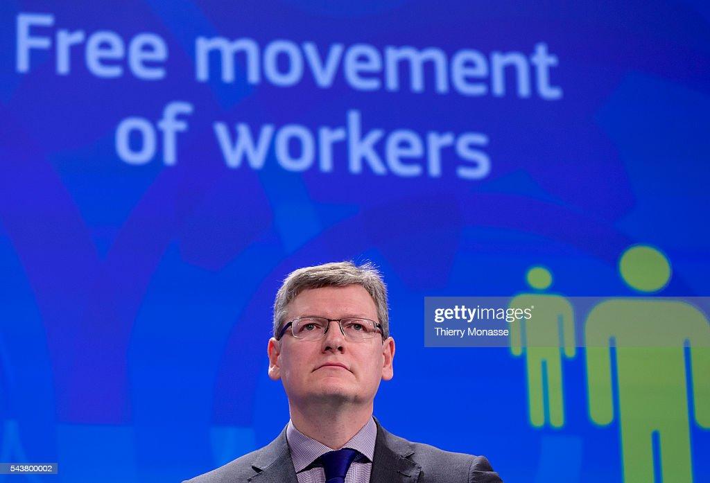 Brussels Belgium January 13 2014 EU Employment Social Affairs and Inclusion Commissioner Laszlo ANDOR is talking to media about the publication of a...