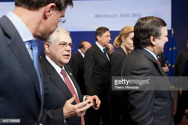 Brussels Belgium January 30 2012 Dutch Prime Minister Mark RUTTE talks with the Greek Prime Minister Lucas PAPADEMOS after a familly photo during an...