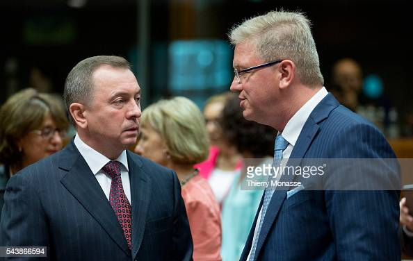 Brussels Belgium July 22 2014 Belarusian Minister of Foreign Affairs Vladimir MAKEY is talking with the EU Enlargement and European Neighbourhood...