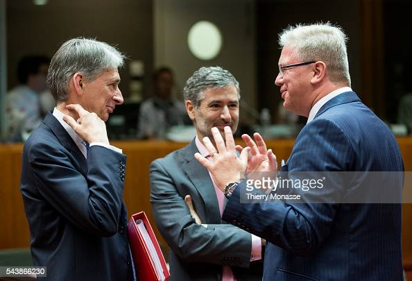 Brussels Belgium July 22 2014 British Secretary of State for Foreign and Commonwealth Affairs Philip HAMMOND is talking with the Enlargement and...