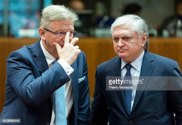 Brussels Belgium July 22 2014 EU Enlargement and European Neighbourhood Policy Commissioner Stefan FÜLE is talking with the Armenian Minister of...