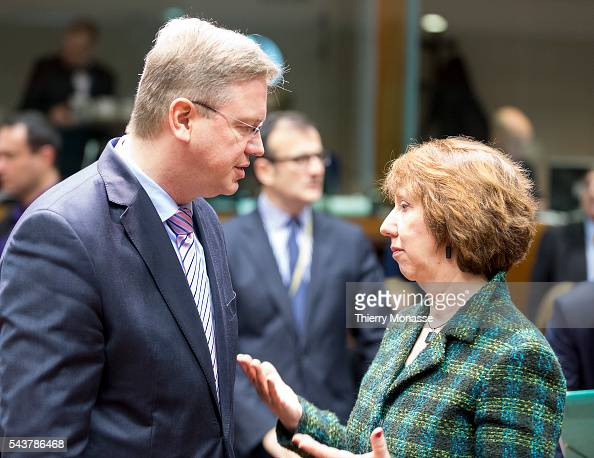 Brussels Belgium March 11 2013 EU Enlargement and European Neighbourhood Policy Commissioner Stefan FÜLE is talking with the EU High Representative...