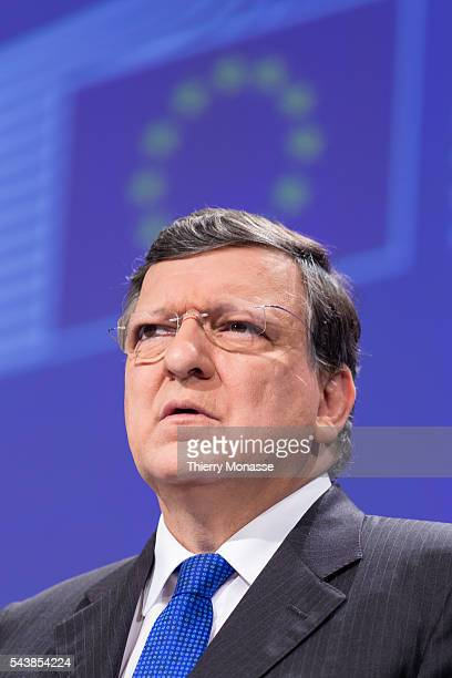 Brussels Belgium March 5 2014 President of the EU Commission Jose Manuel BARROSO expalins to media support package for Ukraine from Europe to Ukraine
