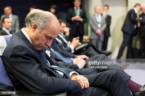 Brussels Belgium May 15 2013 French Minister of Foreign Affairs Laurent FABIUS is sleeping while the French President and the President of the EU...