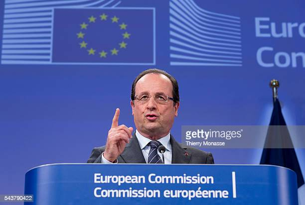 Brussels Belgium May 15 2013 French President Francois HOLLANDE and the President of the EU Commisson talk to media after a bilateral meeting in the...